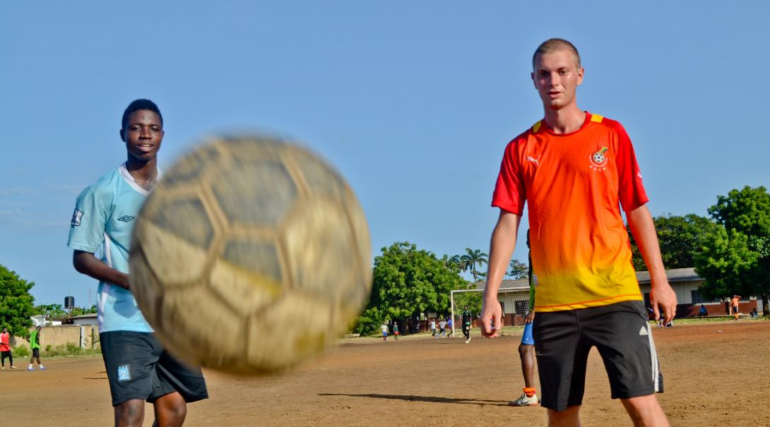 Teach football in Ghana and accompany coaches and players to games.